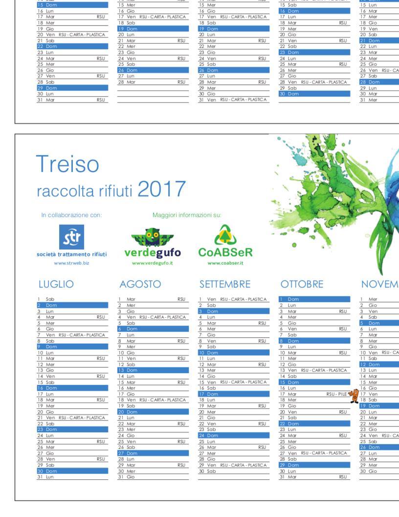 Calendario Anno 2017.Calendario Rifiuti Per L Anno 2017